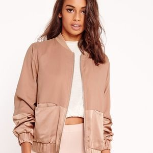 Missguided pink satin two tone bomber jacket